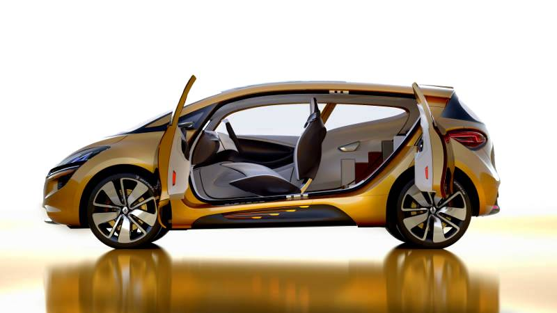The child of the R-Space concept car, the Scenic 4 has a modern